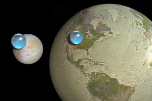 To scale, the blue ocean of Europa is larger than the water of Earth.